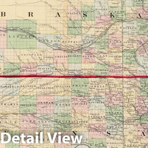 Historic Map : National Atlas - 1874 County & Township Map of the States of Kansas and Nebraska. - Vintage Wall Art