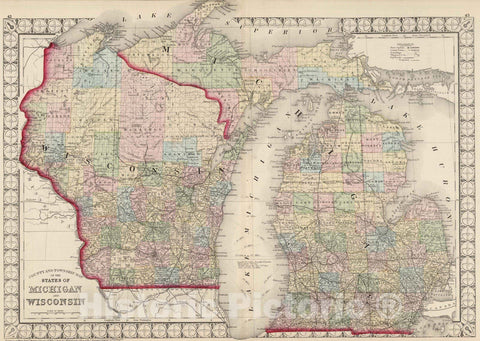 Historic Map : National Atlas - 1874 County and Township Map of the States of Michigan and Wisconsin. - Vintage Wall Art