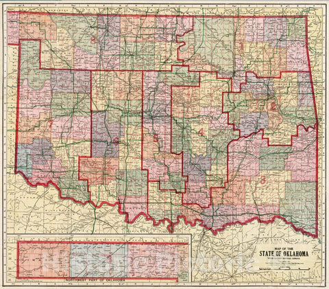 Historic Map : 1914 State of Oklahoma : Vintage Wall Art