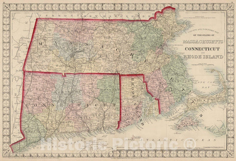 Historic Map : National Atlas - 1874 County and Township Map of the States of Massachusetts, Connecticut, and Rhode Island. - Vintage Wall Art