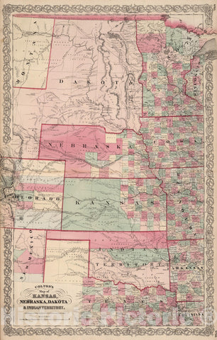 Historic Map : 1866 State of Kansas, and Nebraska and Indian Territories. - Vintage Wall Art