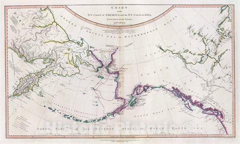 Historic Map : Russia; United States, Alaska, , Asia; North America 1808 NW America, NE Asia. , Vintage Wall Art