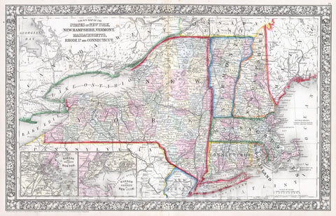 Historic Map : 1865 County map of the State of New York, New Hampshire, Vermont. Massachusetts, Rhode Id. Connecticut - Vintage Wall Art