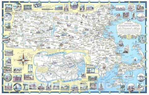 Historic Map : 1957 Historic Massachusetts : a travel map to help you feel at home in the Bay State - Vintage Wall Art