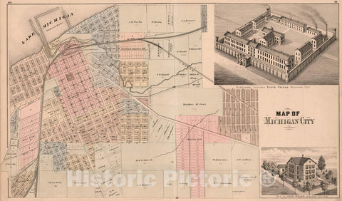 Historic Map : 1874 Map of Michigan City. View: State Prison. Residence of Jacob Weiler, Laporte County, Indiana. - Vintage Wall Art