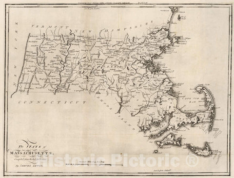 Historic Map : 1795 State of Massachusetts. - Vintage Wall Art