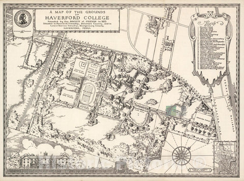 Historic Map - Map of The Grounds of Haverford College, 1947 Pictorial Map - Vintage Wall Art