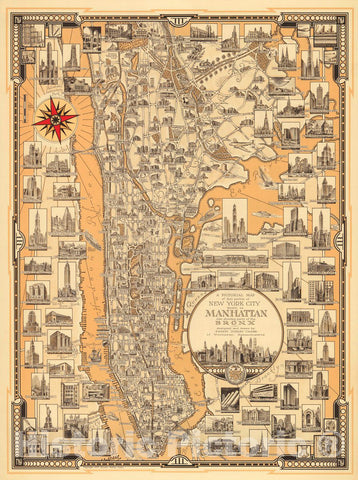 Historic Map - A Pictorial Map of that portion of New York City known as Manhattan also showing parts of the Bronx, 1939, Ernest Dudley Chase - Vintage Wall Art