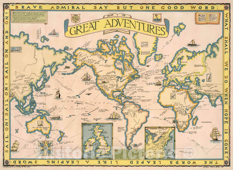 Historic Map : Map of Great Adventures, 1928 Pictorial Map - Vintage Wall Art