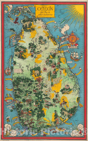 Historic Map - 1933 Pictorial Map - Ceylon, her Tea and Other Industries. - Vintage Wall Art