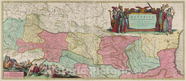 Historic Map : Germany, Danube River Danvbius Fluvius Europae Maximus, 1665 Atlas , Vintage Wall Art