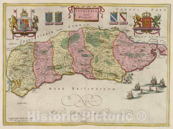 Historic Map : England, Svthsexia, Vernacule Svssex, 1665 Atlas , Vintage Wall Art