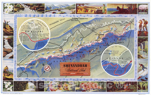 1947 Pictorial Map - Shenandoah National Park. Copyright 1947, Lauk and Company, Luray, Va. Made in U.S.A. (Insets) Bid Meadows. (with) Skyland. - Vintage Wall Art