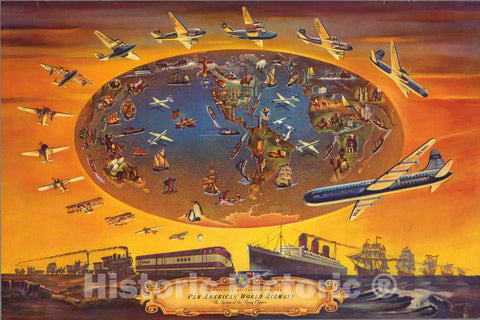 Historic Wall Map : The Progress of Transportation Pan American World Airways The System, 1946 Pictorial Map - Vintage Wall Art