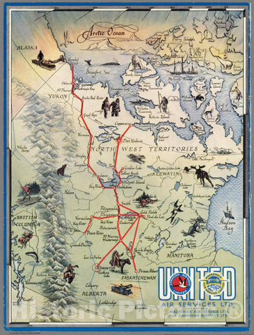 Historic Map : North west Territories. United Air Services Ltd, 1942 Pictorial Map - Vintage Wall Art