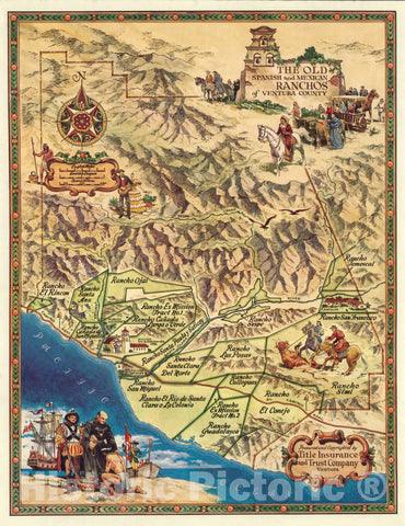 Historic Map : The Old Spanish and Mexican Ranchos of Ventura County, 1965 Pictorial Map - Vintage Wall Art