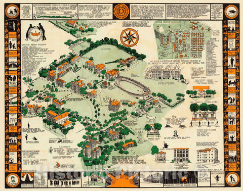 Historic Map : (Syracuse University 1928). Edith A Hough' 20, ex.034;26. Copyrighted August 1928. (Inset) Full Campus Plan, 1928 Pictorial Historic Map : Vintage Wall Art