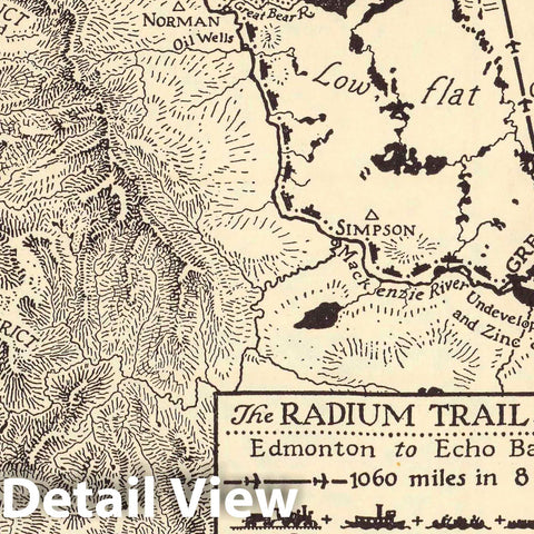 Historic Map : The Radium Trail 1934 : Edmonton to Echo Bay. Richard Edes Harrison, 1934 Pictorial Map - Vintage Wall Art