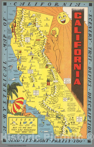 Historic Map : 1948 Pictorial Map - California. A Hysterical map of California - Vintage Wall Art