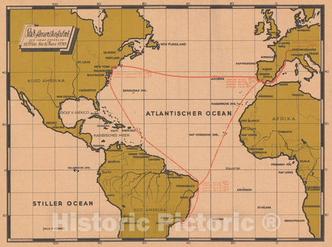 Historic Map : Sud -Amerikafahrt des034;GRAF Zeppelin: 18. Mai bis 6 Juni 1930, 1930 Pictorial Map - Vintage Wall Art