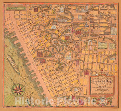 Historic Map - A map of Greenwich Village, 1934 Pictorial Map - Vintage Wall Art
