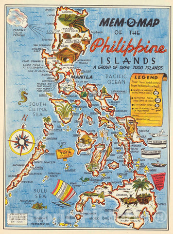 Historic Map - Mem-O-Map of The Philippine Islands, 1945 Pictorial Map - Vintage Wall Art