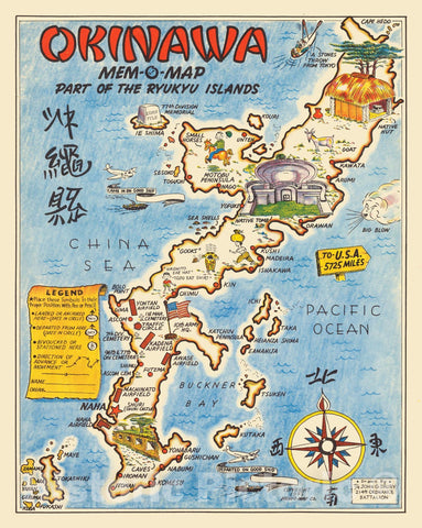 Historic Map : Japan, Okinawa Mem-O-Map Part of The Ryukyu Islands, 1945 Pictorial Map , Vintage Wall Art