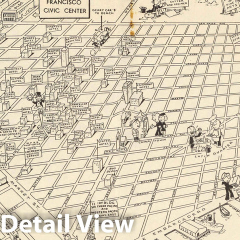 Historic Map : San Francisco Civic Center, 1950 Pictorial Map - Vintage Wall Art