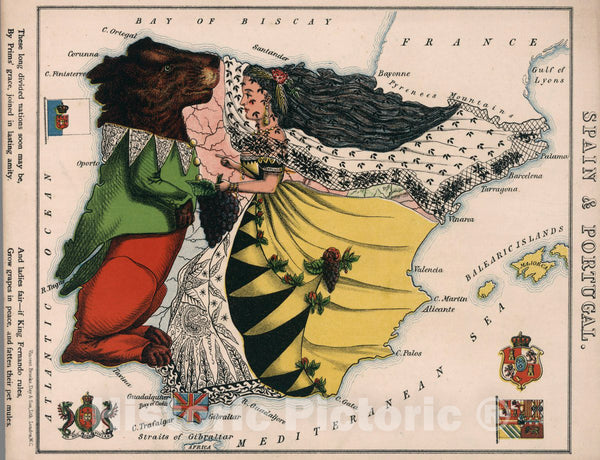 Historic Map : 6. Spain & Portugal, 1868 - Vintage Wall Art