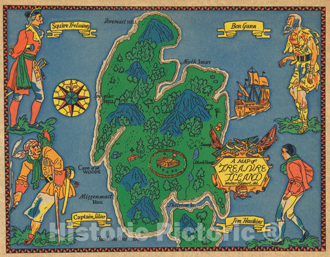 Historic Map : Treasure Island, 1960 Pictorial Map - Vintage Wall Art