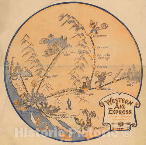 Historic Map : Western Air Express, 1926 Pictorial Map - Vintage Wall Art