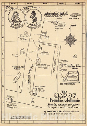 Historic Map : 1925 Pictorial Map - The Map of Frankie & Johnnie. - Vintage Wall Art