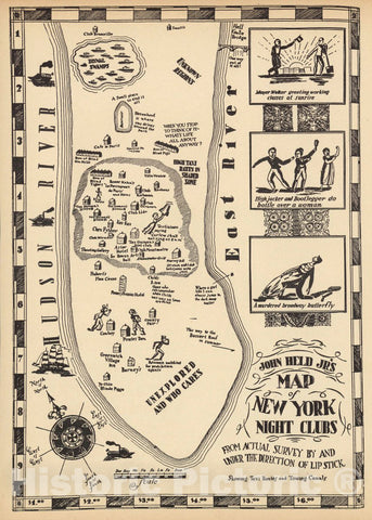 Historic Map : John Held Jr's Map of New York Night Clubs, 1925 Pictorial Map - Vintage Wall Art