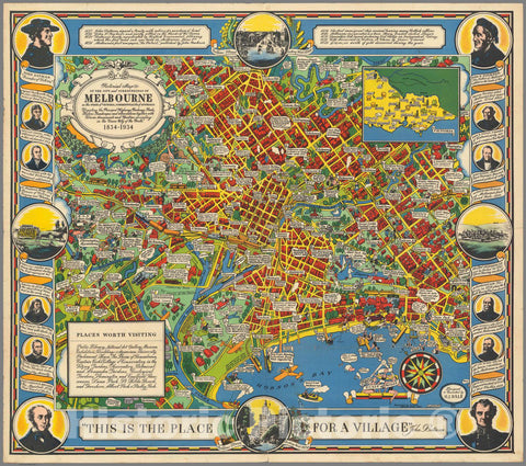 Historic Map : Pictorial map of The City and surroundings of Melbourne, 1934 Pictorial Map - Vintage Wall Art