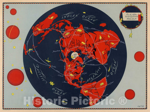 Historic Map : Our New Neighbor : Projected Global air Routes, 1944 Pictorial Map - Vintage Wall Art