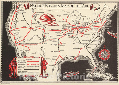Historic Map : Nation's Business Map of The Air, 1929 Pictorial Map - Vintage Wall Art