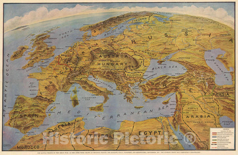 Historic Map : Battle Fronts of The Great War, 1918 Pictorial Map - Vintage Wall Art