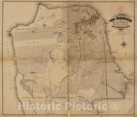 Historic Map : San Francisco from Latest surveys, 1873 Pictorial Map - Vintage Wall Art