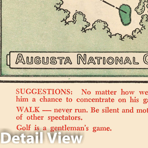 Historic Map - Augusta National Golf Club Course, 1954, Augusta National Golf Club - Vintage Wall Art