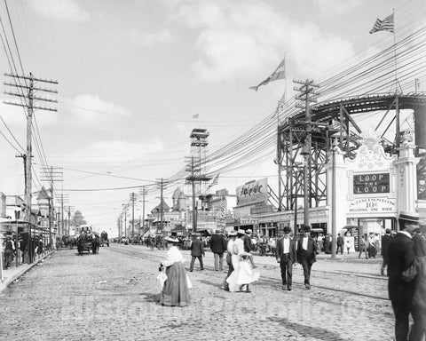 Historic Black & White Photo - Brooklyn, New York - Surf Avenue in Coney Island, c1901 -