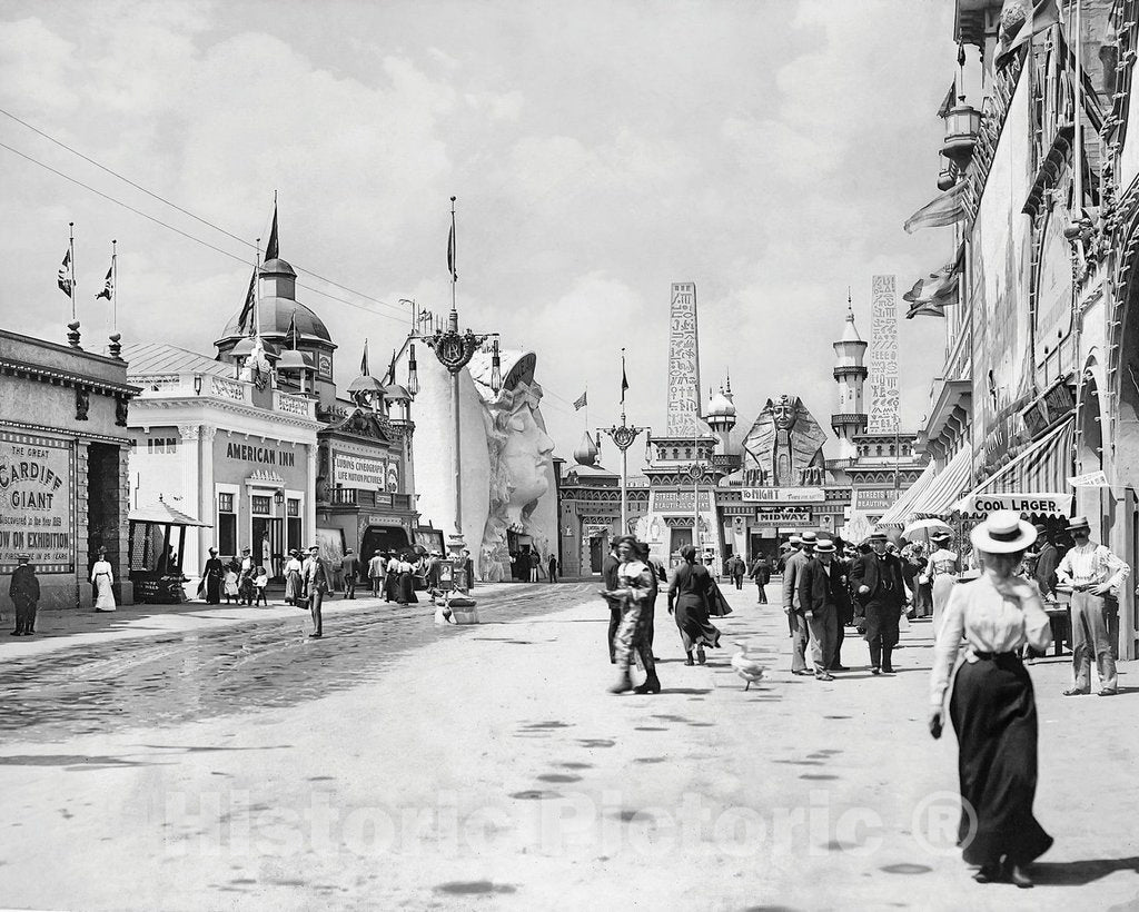 Historic Black & White Photo - Buffalo, New York - The Midway of the Pan Am Exposition, c1901 -