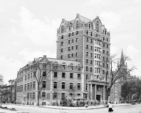 Historic Black & White Photo - Buffalo, New York - The YMCA Building, c1908 -