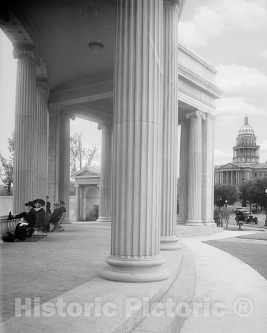 Historic Black & White Photo - Denver, Colorado - In the Shade of the Colonnade, c1919 -