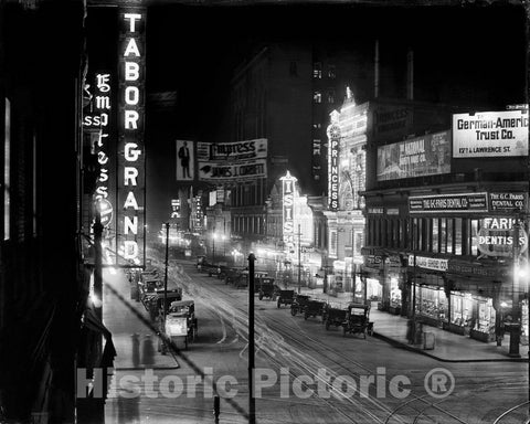 Historic Pictroic - Historic Black & White Photo - Denver, Colorado - Curtis Street's Theater Row, c1913 -