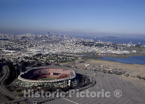 San Francisco, CA Photo - Candlestick Park in The forefront of This Aerial Taken of San Francisco, CA