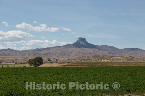 Photo- Heart Mountain, a butte in Park County, Wyoming. A World War II internment camp for sequestered Japanese Americans in the valley below was named for this natural feature