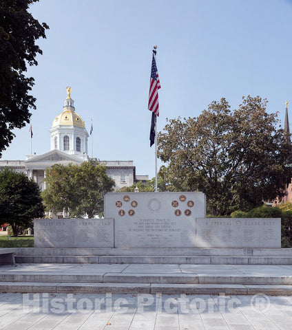 Photo- The memorial in Concord, the capital city of New Hampshire, to those who served, with special mention of those who perished, fighting for the United States in World War II