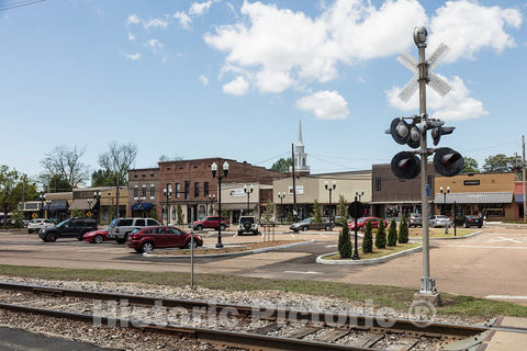 Photo - Stores Along a Railroad Track Through Town in Batesville, Mississippi- Fine Art Photo Reporduction