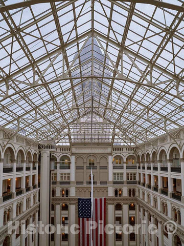 Photo- Atrium. The Old Post Office and Clock Tower, Washington, D.C. 2 Fine Art Photo Reproduction