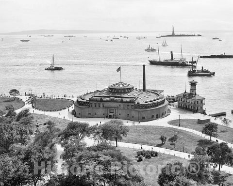 Historic Black & White Photo - New York City, New York - View from the Battery, c1906 -